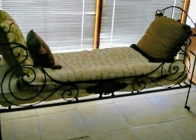 Antique 19th Century French Iron Campaign Day Bed Frame