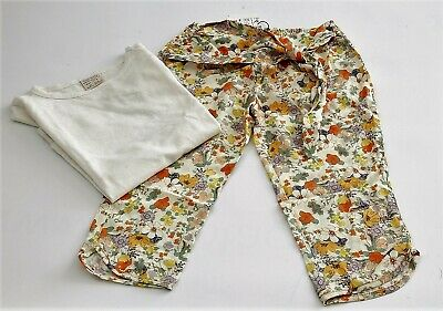 Zara Girls pack 1x Floral trousers yellow T-shirt Size 3-4 years / 104 cm Summer