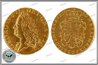 RESTRIKE 1760 King George II Gold Plated One Guinea Coin Copy
