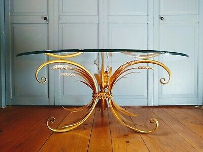Vintage Gold Wheat Sheaf Glass Top Cocktail Coffee Table Mid Century Italian