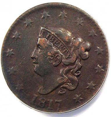 1817 Coronet Matron Large Cent 1C - ANACS XF40 Details (EF40) - Rare Coin