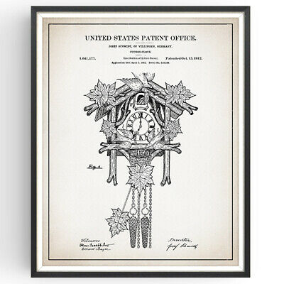 Cuckoo Clock Patent Print Decor Clockmaker Black Forest Poster Wall Art Gift