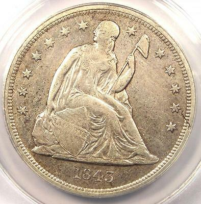 1843 Seated Liberty Silver Dollar $1 - ANACS XF40 Detail - Rare Early Date Coin!