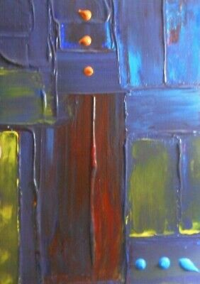 "Painting signed MDmi handmade oil canvas modern abstract art original 12"" Blue🔥"