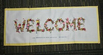 "Dimensions Completed Ribbon Embroidery Picture WELCOME 20"" Ribbons Flowers 1994"