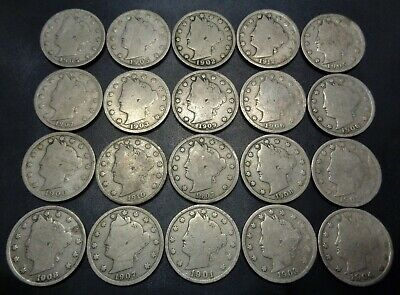 Lot #2) 20 nice mixed dates all 1900's Liberty Head V Nickel 5C Nickle lot