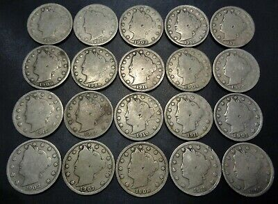 Lot #4) 20 nice mixed dates all 1900's Liberty Head V Nickel 5C Nickle lot