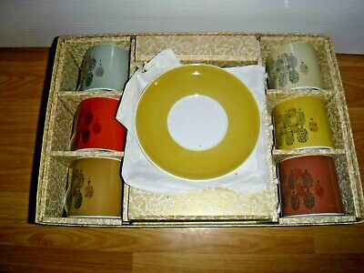 Vintage Susie Cooper Harlequin Coffee Cans Cups & Saucers ~ Original Box