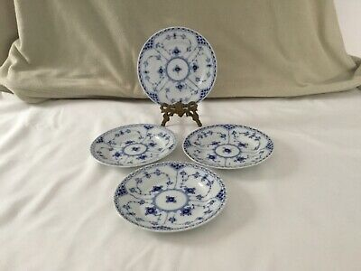 ROYAL COPENHAGEN ROYAL BLUE FLUTED HALF LACE BREAD AND BUTTER PLATES (four)