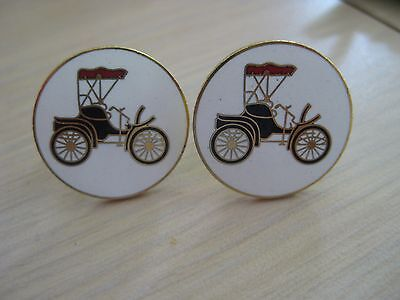 Estate Costume Old Fashion Car Kinney Signed Cuff Links Enamel Model A