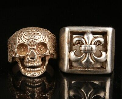 Antiques Collect Rarity China Hand-Carved Precious Tibetan Silver Ring PI Xiu Statue