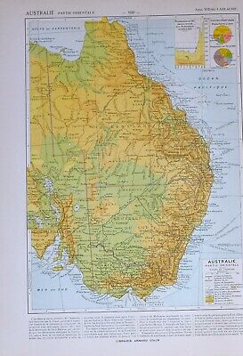 1913 Map Eastern Australia Melbourne Victoria Queensland Physical Colonies