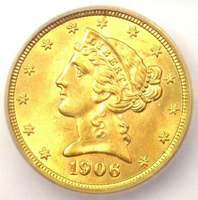 1906 Liberty Gold Half Eagle $5 Coin - Certified ICG MS65 - Rare - $2,690 Value!