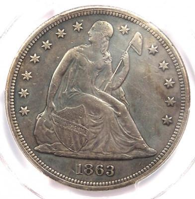 1863 Seated Liberty Silver Dollar $1 - PCGS XF Details - Rare Civil War Date!