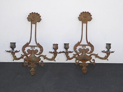 Pair Rustic Vintage Floral Design Cast Iron Two Arm Sconces Candle Holders