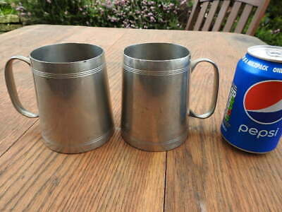 Pair of Antique Pewter Tankards with Original Glass Bases. No Maker's Mark