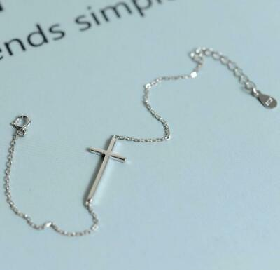 Fashion 925 Sterling Silver Lovely Sideways Cross Chain Charm Bracelet