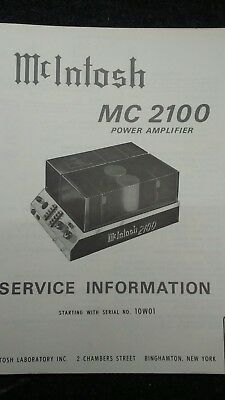 mcintosh mc 2500 original service manual