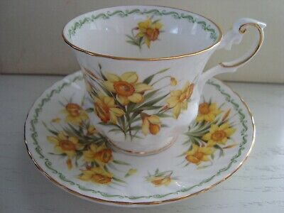 """SPECIAL FLOWERS queens tea cup & saucer """"Daffodil"""" Made in England Rosina China"""