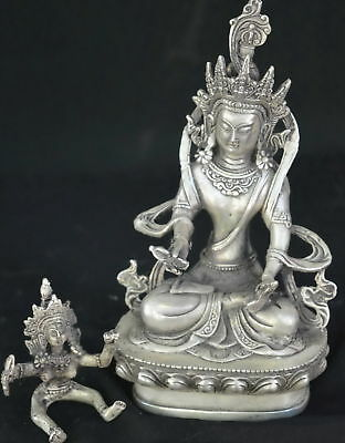 Collectable Chinese Miao Silver Carve Exorcism Buddha Buddhism Souvenir Statue