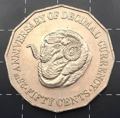 1991 AUSTRALIAN 50 CENT COIN - 25th ANNIVERSARY OF DECIMAL CURRENCY RAM HEAD
