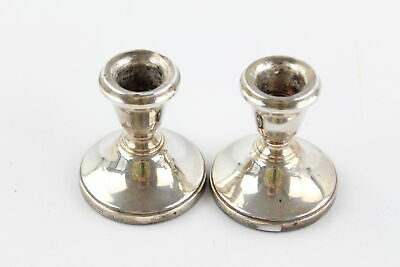 Pair Of Hallmarked .925 STERLING SILVER Squat Candlesticks Filled (141g)