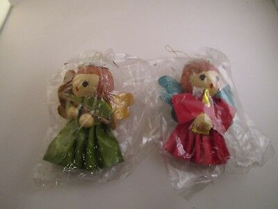 Vintage Pair of Inarco Paper Mache Christmas Ornaments Angel