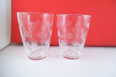 Lovely Pair of Libbey Clear Glass Polka Dot Juice Glasses