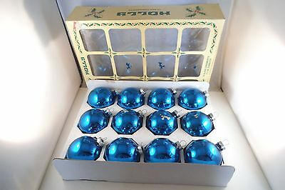 Vintage Lot of 12 Mercury Glass Christmas Ornaments Blue Holly