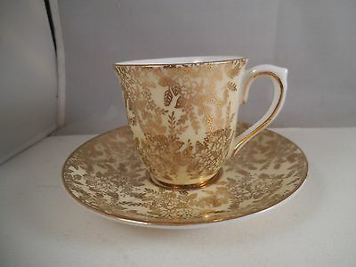 Vintage Colclough Bone China Demitasse Cup & Saucer Yellow Gold Flowers England