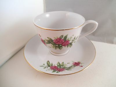 Vintage Tientsin Porcelain China Teacup Tea Cup & Saucer Pink Roses