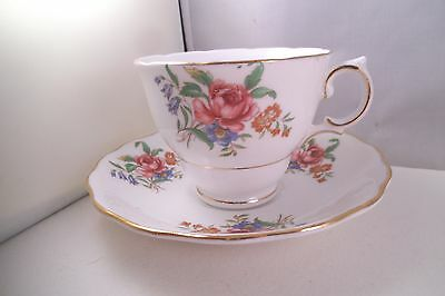 Vintage Colcough Bone China England Cup & Saucer Pink Roses Flowers