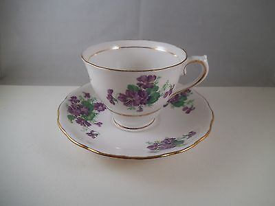 Vintage Colclough China Longton England Teacup Tea Cup & Saucer Violets B