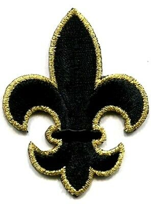 FLEUR DE LIS BLACK & GOLD LARGE IRON ON PATCH APPLIQUE  1 7/8 X 2 1/2 inch