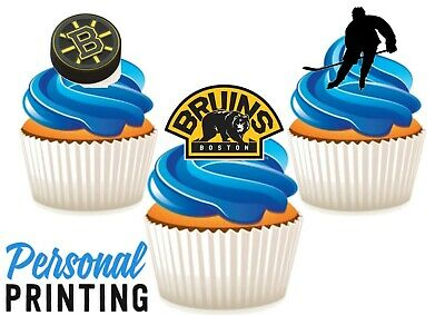 Boston Bruins Trio American Ice Hockey Mix Edible Stand Up Wafer Cake Toppers