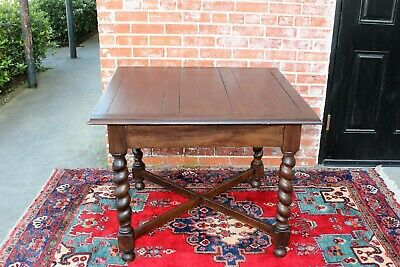 English Antique Tiger Oak Barley Twist  Square Breakfast Kitchen Table