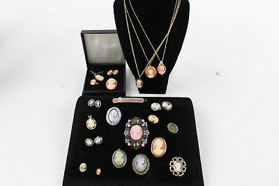 20 x Vintage CAMEO JEWELLERY inc. Brooches, Earrings, Pendants, Boxed