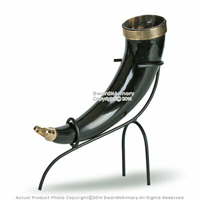 Medieval Style Viking Drinking Horn Cup with Iron Stand Renaissance Costume