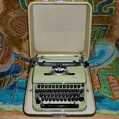 Vintage Green Cursive Font Olympia SM4 Portable Typewriter w/ Case - Works Great