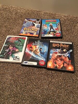 Harry Potter Sorcerer's Stone, Pokemon, The Last Airbender Lot Of 5 DVD's Movies