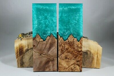 Burl Turquoise Composite Knife Handle Material Blank Scales (111)