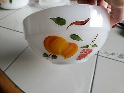 Fire King Colonial Band Gay Fad Fruits Mixing Bowl Peaches Grapes 6""