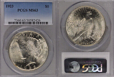 1923 Pcgs Ms63 Uncirculated Silver Peace Dollar Coin !! Wonderful Coin !!