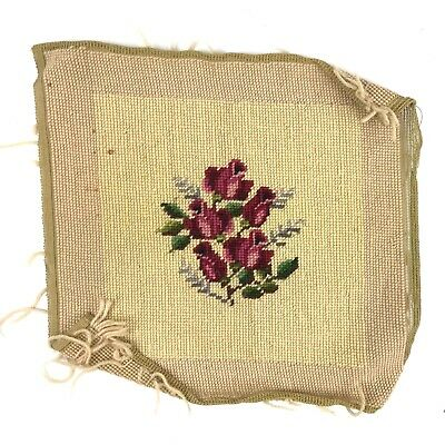 Finished Needlepoint Floral Completed 11.75X11.75 Roses Flowers Beige/Tan Red
