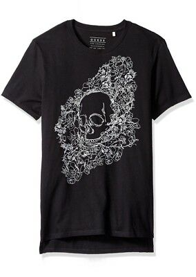 04f3879df2c8 Guess Men's Jet Black Embroidered Skull Floral Crew T-Shirt Size XL