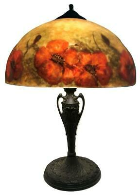 Antique Pittsburgh Jefferson Handel Era Reverse Painted Poppy Glass Shade Lamp