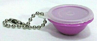 "Tupperware Keychain Mini 1.5"" Wonderlier Bowl Purple Pink Sheer Lid Seal Vintage"