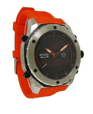 Bulova Marine Star 98C118 Men's Analog Digital Chronograph Orange Rubber Watch