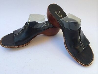 c6652e64edd Caslon Womens Black Leather with wood style sole SLIP ON shoes   clogs SIZE  7