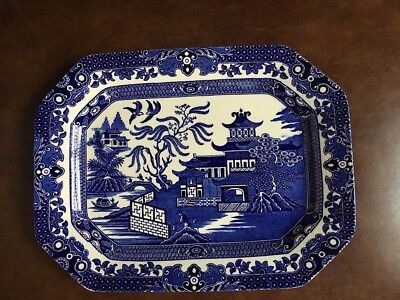 """Burleigh Ware Rare """"willow Blue"""" Square Platter [New]"""